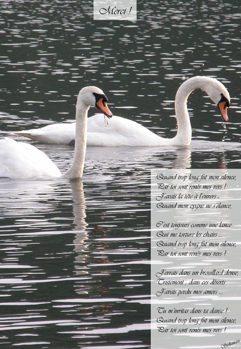 Merci / / Quand trop long fut mon silence, / Par toi sont renés mes vers ! / J'avais la tête à l'envers : / Quand mon cygne ne s'élance, / / C'est toujours comme une lance / Qui me torture les chairs … / Quand trop long fut mon silence, / Par toi sont renés mes vers ! / / J'errais dans un brouillard dense, / Tristement ; dans ces déserts / J'avais perdu mes amers … / / Tu m'invitas dans ta danse ! / Quand trop long fut mon silence, / Par toi sont renés mes vers ! / / Stellamaris
